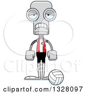 Clipart Of A Cartoon Skinny Sad Robot Volleyball Player Royalty Free Vector Illustration
