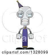 Clipart Of A Cartoon Skinny Sad Robot Wizard Royalty Free Vector Illustration