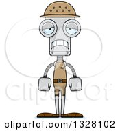 Clipart Of A Cartoon Skinny Sad Zookeeper Robot Royalty Free Vector Illustration