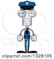 Clipart Of A Cartoon Skinny Sad Robot Police Officer Royalty Free Vector Illustration