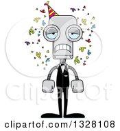 Clipart Of A Cartoon Skinny Sad Party Robot Royalty Free Vector Illustration