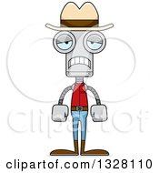 Clipart Of A Cartoon Skinny Sad Robot Cowboy Royalty Free Vector Illustration