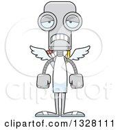 Clipart Of A Cartoon Skinny Sad Robot Cupid Royalty Free Vector Illustration