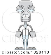 Clipart Of A Cartoon Skinny Sad Robot Doctor Royalty Free Vector Illustration