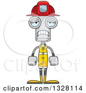 Clipart Of A Cartoon Skinny Sad Robot Firefighter Royalty Free Vector Illustration