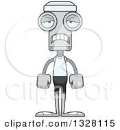 Clipart Of A Cartoon Skinny Sad Fitness Robot Royalty Free Vector Illustration