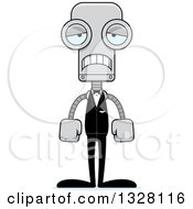 Clipart Of A Cartoon Skinny Sad Robot Groom Royalty Free Vector Illustration
