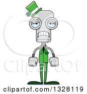 Clipart Of A Cartoon Skinny Sad St Patricks Day Robot Royalty Free Vector Illustration
