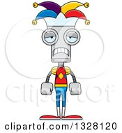 Clipart Of A Cartoon Skinny Sad Robot Jester Royalty Free Vector Illustration