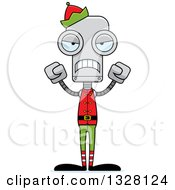 Clipart Of A Cartoon Skinny Mad Robot Christmas Elf Royalty Free Vector Illustration