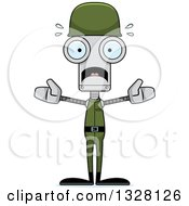 Clipart Of A Cartoon Skinny Scared Soldier Robot Royalty Free Vector Illustration