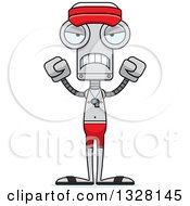 Clipart Of A Cartoon Skinny Mad Robot Lifeguard Royalty Free Vector Illustration