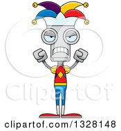 Clipart Of A Cartoon Skinny Mad Robot Jester Royalty Free Vector Illustration by Cory Thoman