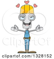 Cartoon Skinny Construction Worker Robot With Open Arms And Hearts