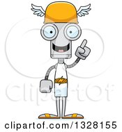 Clipart Of A Cartoon Skinny Hermes Robot With An Idea Royalty Free Vector Illustration