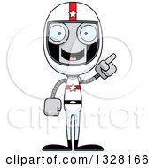 Clipart Of A Cartoon Skinny Robot Race Car Driver With An Idea Royalty Free Vector Illustration
