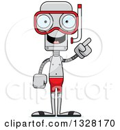 Clipart Of A Cartoon Skinny Robot In Snorkel Gear With An Idea Royalty Free Vector Illustration by Cory Thoman