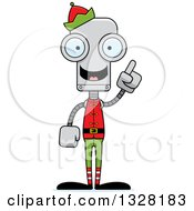 Clipart Of A Cartoon Skinny Christmas Elf Robot With An Idea Royalty Free Vector Illustration