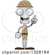 Clipart Of A Cartoon Skinny Robot Zookeeper With An Idea Royalty Free Vector Illustration