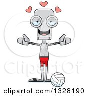 Clipart Of A Cartoon Skinny Beach Volleyball Player Robot With Open Arms And Hearts Royalty Free Vector Illustration