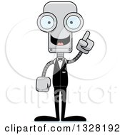 Clipart Of A Cartoon Skinny Groom Robot With An Idea Royalty Free Vector Illustration