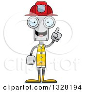 Clipart Of A Cartoon Skinny Robot Firefighter With An Idea Royalty Free Vector Illustration by Cory Thoman