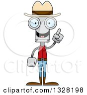 Clipart Of A Cartoon Skinny Cowboy Robot With An Idea Royalty Free Vector Illustration