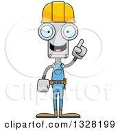 Cartoon Skinny Robot Construction Worker With An Idea