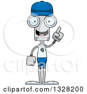Clipart Of A Cartoon Skinny Robot Sports Coach With An Idea Royalty Free Vector Illustration