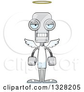 Clipart Of A Cartoon Skinny Mad Robot Angel Royalty Free Vector Illustration