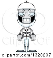 Clipart Of A Cartoon Skinny Mad Robot Astronaut Royalty Free Vector Illustration