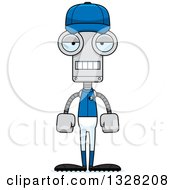 Poster, Art Print Of Cartoon Skinny Mad Robot Baseball Player