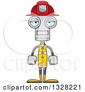 Clipart Of A Cartoon Skinny Mad Robot Firefighter Royalty Free Vector Illustration by Cory Thoman