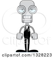 Clipart Of A Cartoon Skinny Mad Groom Robot Royalty Free Vector Illustration