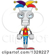 Clipart Of A Cartoon Skinny Mad Jester Robot Royalty Free Vector Illustration by Cory Thoman