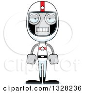 Clipart Of A Cartoon Skinny Mad Race Car Driver Robot Royalty Free Vector Illustration