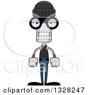 Clipart Of A Cartoon Skinny Bored Robot Robber Royalty Free Vector Illustration