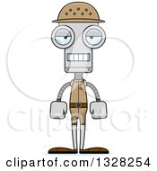 Clipart Of A Cartoon Skinny Mad Robot Zookeeper Royalty Free Vector Illustration
