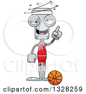 Clipart Of A Cartoon Skinny Drunk Or Dizzy Robot Basketball Player Royalty Free Vector Illustration