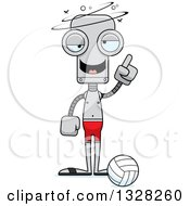 Clipart Of A Cartoon Skinny Dizzy Or Drunk Robot Beach Volleyball Player Royalty Free Vector Illustration