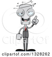 Clipart Of A Cartoon Skinny Drunk Or Dizzy Business Robot Royalty Free Vector Illustration