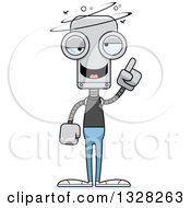 Clipart Of A Cartoon Skinny Drunk Or Dizzy Casual Robot Royalty Free Vector Illustration