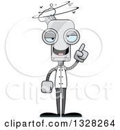 Clipart Of A Cartoon Skinny Drunk Or Dizzy Robot Chef Royalty Free Vector Illustration