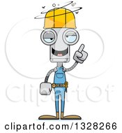 Clipart Of A Cartoon Skinny Drunk Or Dizzy Robot Construction Worker Royalty Free Vector Illustration