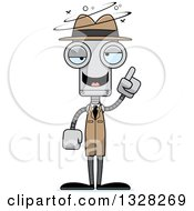 Clipart Of A Cartoon Skinny Drunk Or Dizzy Robot Detective Royalty Free Vector Illustration