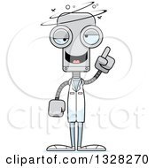 Clipart Of A Cartoon Skinny Drunk Or Dizzy Robot Doctor Royalty Free Vector Illustration