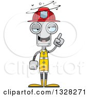 Clipart Of A Cartoon Skinny Drunk Or Dizzy Robot Firefighter Royalty Free Vector Illustration by Cory Thoman