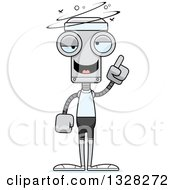 Clipart Of A Cartoon Skinny Drunk Or Dizzy Fit Robot Royalty Free Vector Illustration