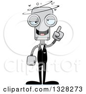 Clipart Of A Cartoon Skinny Drunk Or Dizzy Robot Groom Royalty Free Vector Illustration