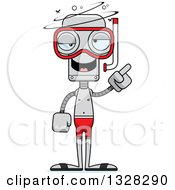 Clipart Of A Cartoon Skinny Drunk Or Dizzy Robot In Snorkel Gear Royalty Free Vector Illustration by Cory Thoman